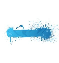 blue sea gringe banner vector image vector image