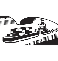 Cargo ship pass river vector image vector image