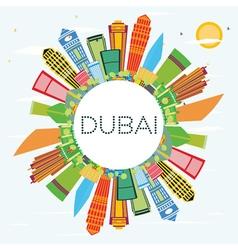 Dubai skyline with color buildings blue sky vector