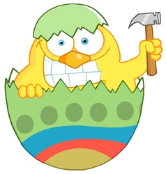 Easter Chick Holding A Hammer vector image vector image