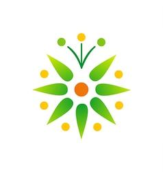 Green leaf bio star logo vector