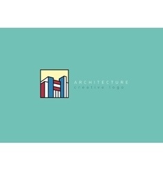 logo on the architectural theme in a linear style vector image