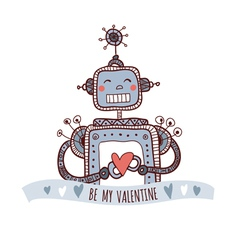 robot with heart be my valentine vector image vector image