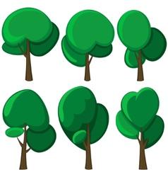 Set of cartoon trees vector image vector image