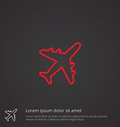 Airplane outline symbol red on dark background vector