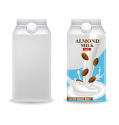 almond milk realistic product box label vector image