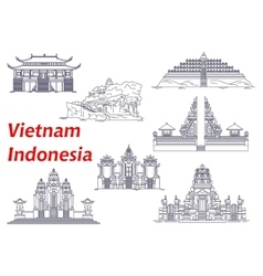 Ancient temples of Indonesia and Vietnam icons vector