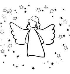 Angel and Stars vector