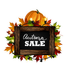 Autumn sale autumn leaves are drawn with chalk on vector