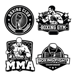 badge boxing club set vector image