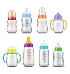 Bamilk feeding bottles 3d mockup templates vector