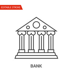 bank icon thin line vector image