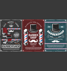 Barbershop poles hairdresser chair and mustache vector