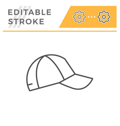 baseball cap editable stroke line icon vector image