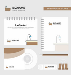 bathtub logo calendar template cd cover diary and vector image
