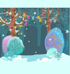 Beautiful cozy winter landscape forest fancy vector