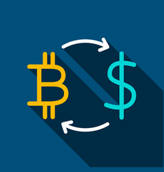 bitcoin dollar flat icon vector image