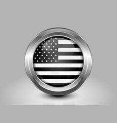Black and White American Flag Round Icon vector