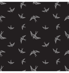 Black and white swallow birds seamless pattern vector
