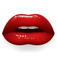 bright red lipstick lips half open female mouth vector image