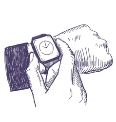 Businessman looking at the hand watch vector
