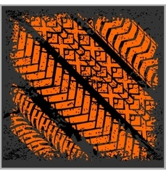 Car tire tracks with grunge - set vector