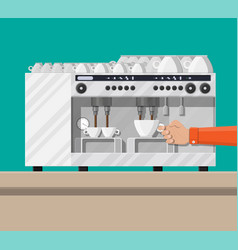 coffee maker with cups vector image