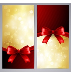 Collection of gift cards with ribbon vector