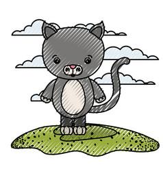 Color crayon silhouette scene caricature cat vector