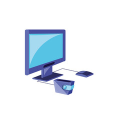 computer monitor with parasol store and wallet vector image