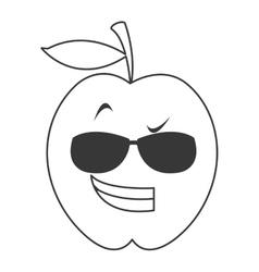 Cool sunglasses apple cartoon icon vector