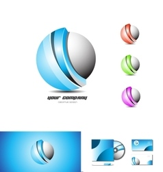Corporate business blue sphere 3d logo vector
