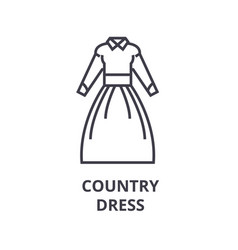 country dress line icon outline sign linear vector image