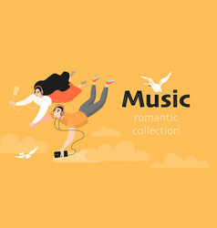 couple listening to romantic music vector image
