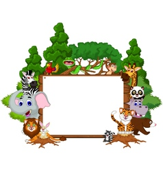 cute animal cartoon with blank board and forest vector image