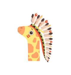 Cute animal giraffe wearing indian traditional vector