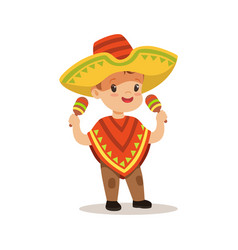 Cute boy wearing poncho and sombrero national vector