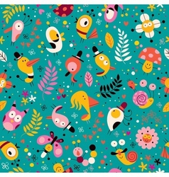 cute characters nature pattern vector image