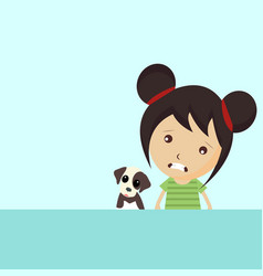 cute girl and puppy vector image