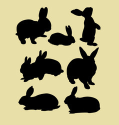 cute rabbits silhouette vector image