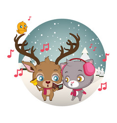cute reindeer and cat singing carols vector image