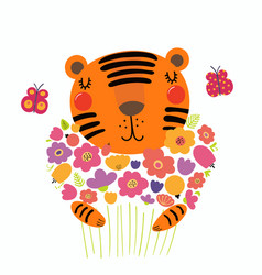 Cute tiger with flowers vector