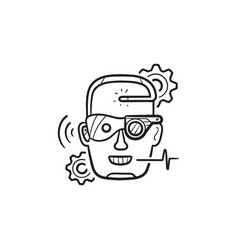 cyber enhancement hand drawn outline doodle icon vector image