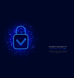 cyber security template with padlock and check vector image