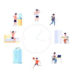 daily life schedule cartoon kid routine boy vector image
