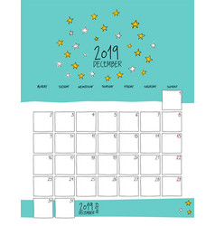 december 2019 wall calendar doodle style vector image