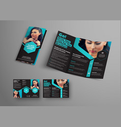 design of a triple folding brochure with blue vector image