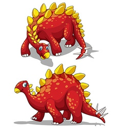 Dinosaur in red color vector image