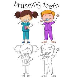 Doodle boy and girl brushing teeth vector