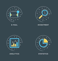 E-mail investment analytics statistics set of 4 vector